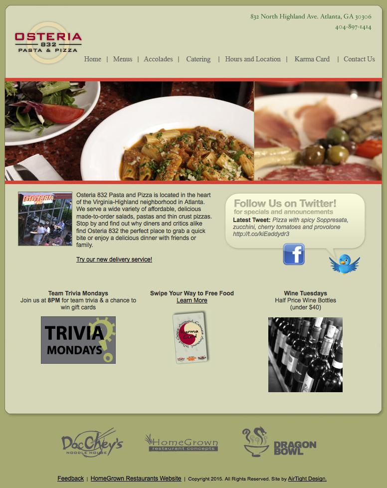 Osteria Original Homepage